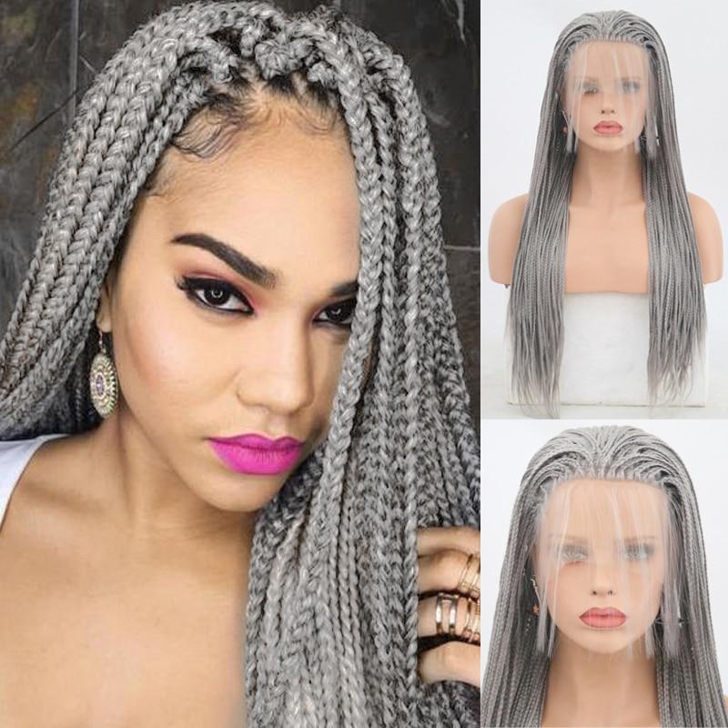 Carisma prata cinza trançado perucas peruca dianteira do laço sintético parte livre trançado caixa tranças peruca com cabelo do bebê perucas para preto
