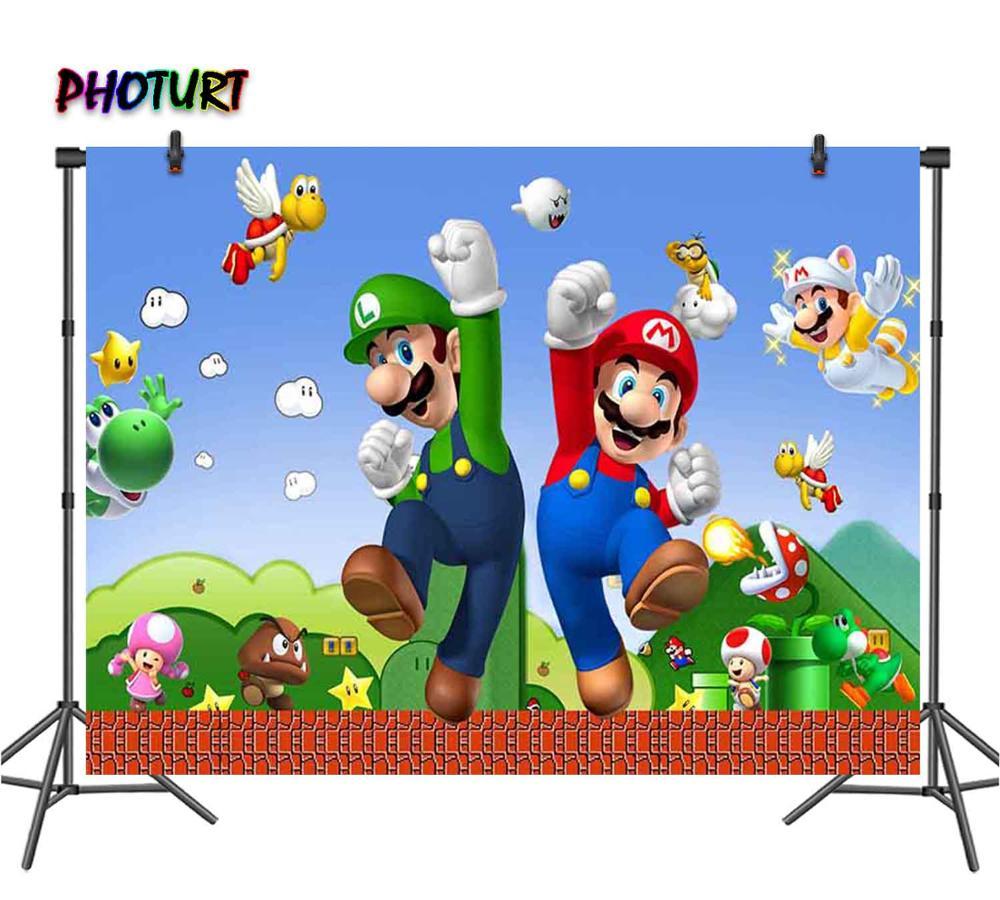 PHOTURT Супер Марио Bros фон для фотосъемки дети День рождения поставка фон голубой игровой Lugie Виниловый фон для фото плакат реквизит