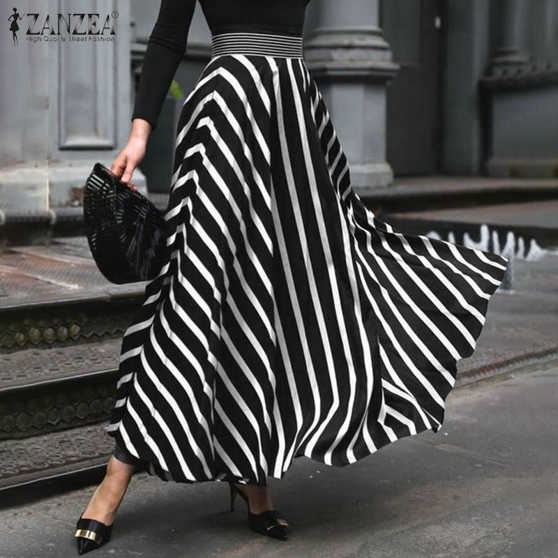 ZANZEA 2021 Elegant Women's Maxi Skirts Summer Sundress Casual High Waist Striped Vestido Female Robe Plus Size Faldas Saia 5XL