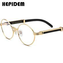HEPIDEM Buffalo Horn Glasses Frame Men Round High Quality Women Eyeglasses 2020 New Luxury Optical Frame Eyewear 0818