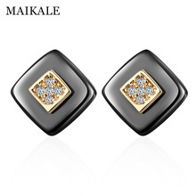 MAIKALE Classic Square Stud Earrings Ceramic AAA Cubic Zirconia Gold Silver Color Simple Korean For Women Send Friends