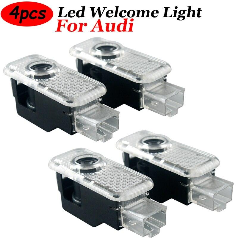 4 шт. светодиодный проектор лампа двери автомобиля Добро пожаловать светильник для Audi Sline A1 A3 A4 A5 A6 A7 Q3 Q7 TT R8 B5 B6 B8 C5 C8 8P автомобильный Товары