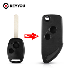 For Honda Accord CRV Odyssey CIVIC Pilot Ridgeline Modified Flip Folding Key Case 2 Buttons Uncut Blade Folding Car Key Shell