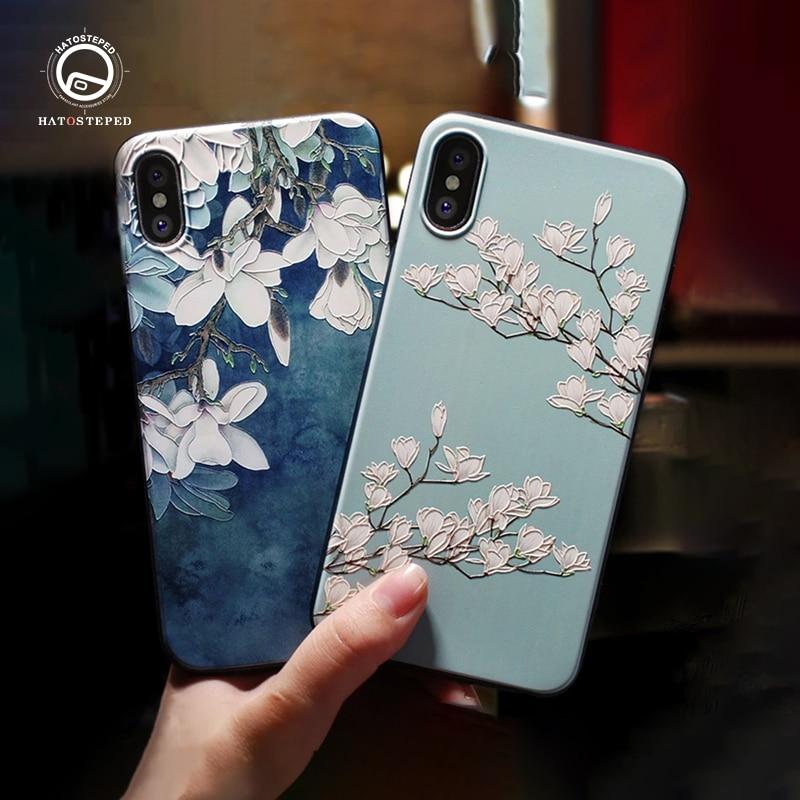 Para o iphone 6 7 8 6s capa para o iphone x xs 7 8 6 plus caso do telefone para o iphone xs capa emboss flor preta caso de telefone