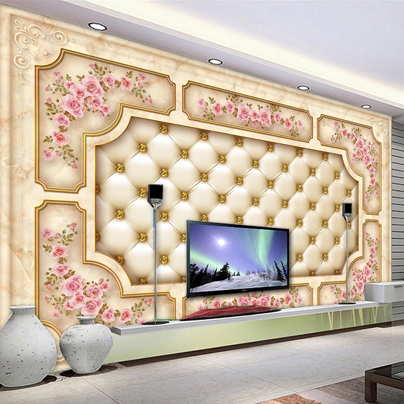 Custom Self-adhesive Mural Wallpaper 3D European Style Marble Soft Package Rose Flower Living Room TV Background Wall Covering