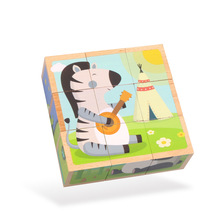 Animal Six-sided Painting Creative Puzzle Kids Wooden Toys Early Learning Educational Montes