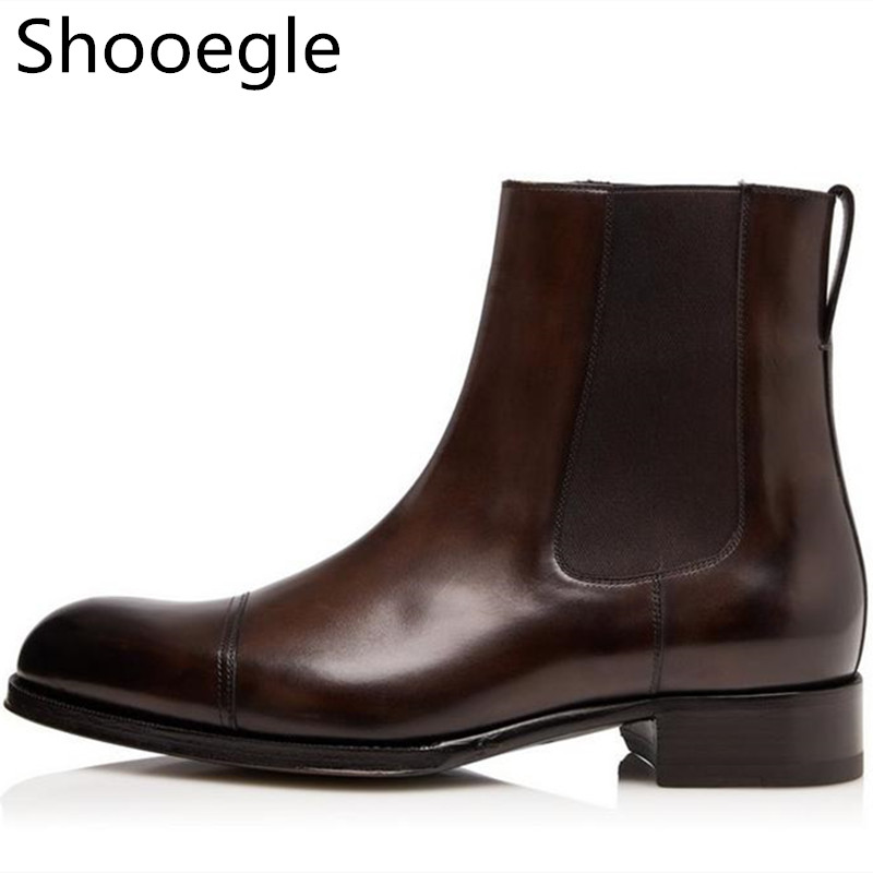 Fashion Leather Men Casual Boots Brown And Black Ankle Men Boots Design New Style Slip On Low Heel Men Boots