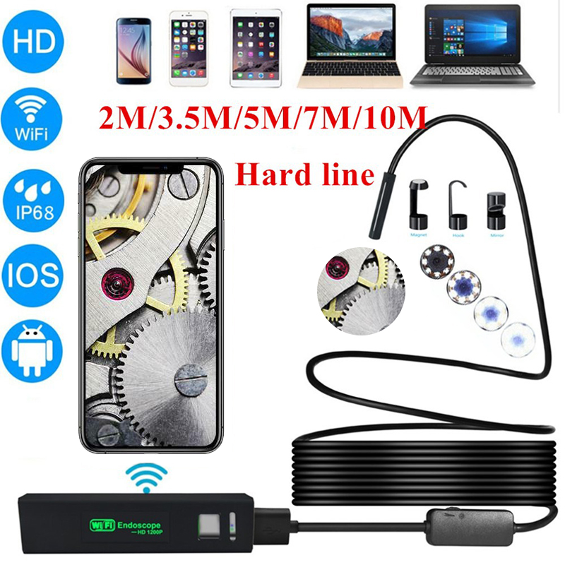 WIFI <font><b>Endoscope</b></font> Camera <font><b>1200P</b></font> waterproof 2M/3.5M/5M/<font><b>10M</b></font> Hard Wire Inspection Camera 8mm USB <font><b>Endoscope</b></font> Borescope For iOS Android image