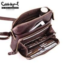 Ayakkabıcı Legend kadın çantası çok cepler ve kart Casual Crossbody hakiki deri omuz Zip çanta tasarımcı Vintage bayan çanta