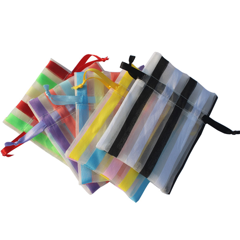 Striped Organza Gifts Bags Party Favors Packaging Jewelry Pouches Colored Candy Holder Drawstring Pouch