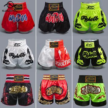 Muay Thai krótkie hafty męskie szorty MMA walki walki walki spodnie Sanda sztuki walki odzież kobiety dzieci Boxeo pnie tanie i dobre opinie SURVENIL CN (pochodzenie) POLIESTER trunks boxing shorts BOKS Dobrze pasuje do rozmiaru wybierz swój normalny rozmiar
