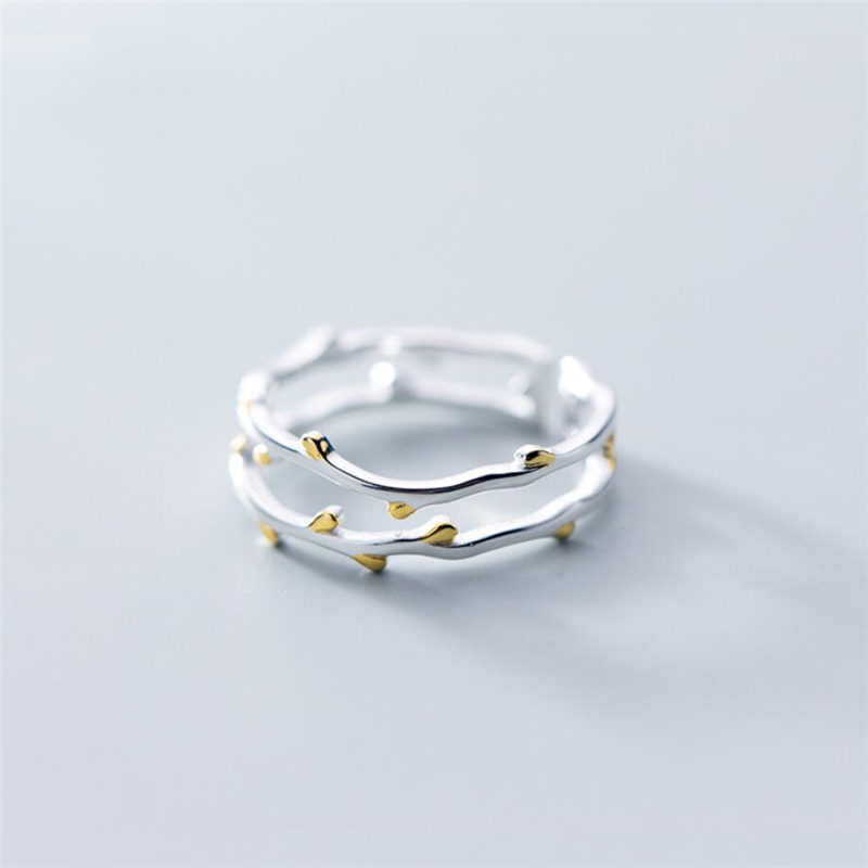 Sole Memory Creative Double Tree Branch Fresh Cute Sweet Art 925 Sterling Silver Female Resizable Opening Rings SRI344