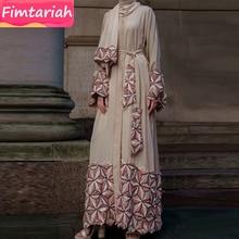 מפואר תחרה ערבית גלימות העבאיה נשים דובאי תורכי חיג אב האיסלאם מוסלמי שמלת חורף סתיו חאקי קימונו ארוך קפטן Marocain