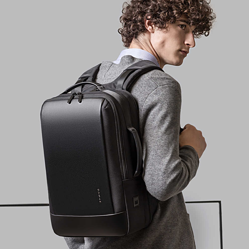 BANGE Laptop Backpack Men 15.6 inch Office Work Men Backpack Business Bag Unisex Black Multifunction Backpack Travel Backpack
