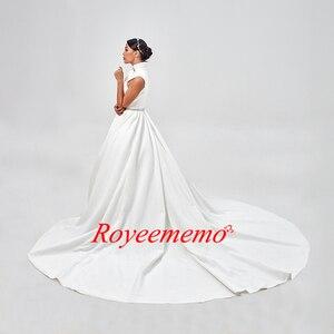 Image 4 - งาช้างแต่งงานกับกระเป๋า Vestido Noiva Elegant ซาตินแขนกุดชุดแต่งงานความยาวชุดเจ้าสาว 2020