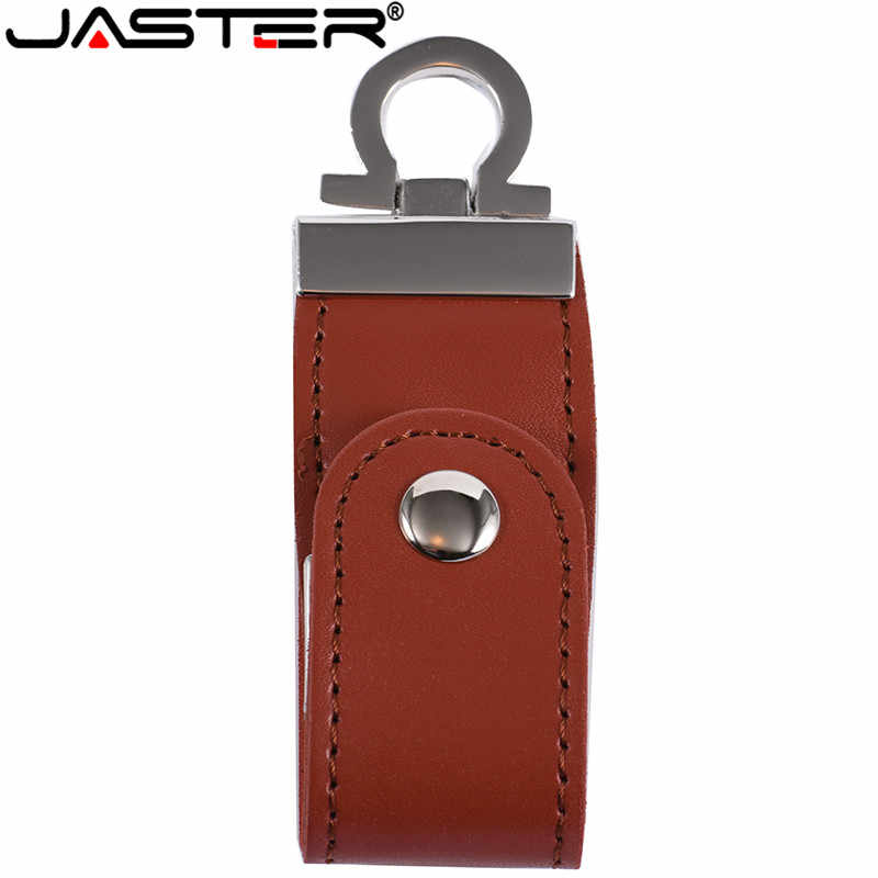 JASTER pele de couro usb flash drive LOGOTIPO do cliente da corrente chave memory stick pendrives gb 32 8gb comercial 4gb 16gb usb presente criativo