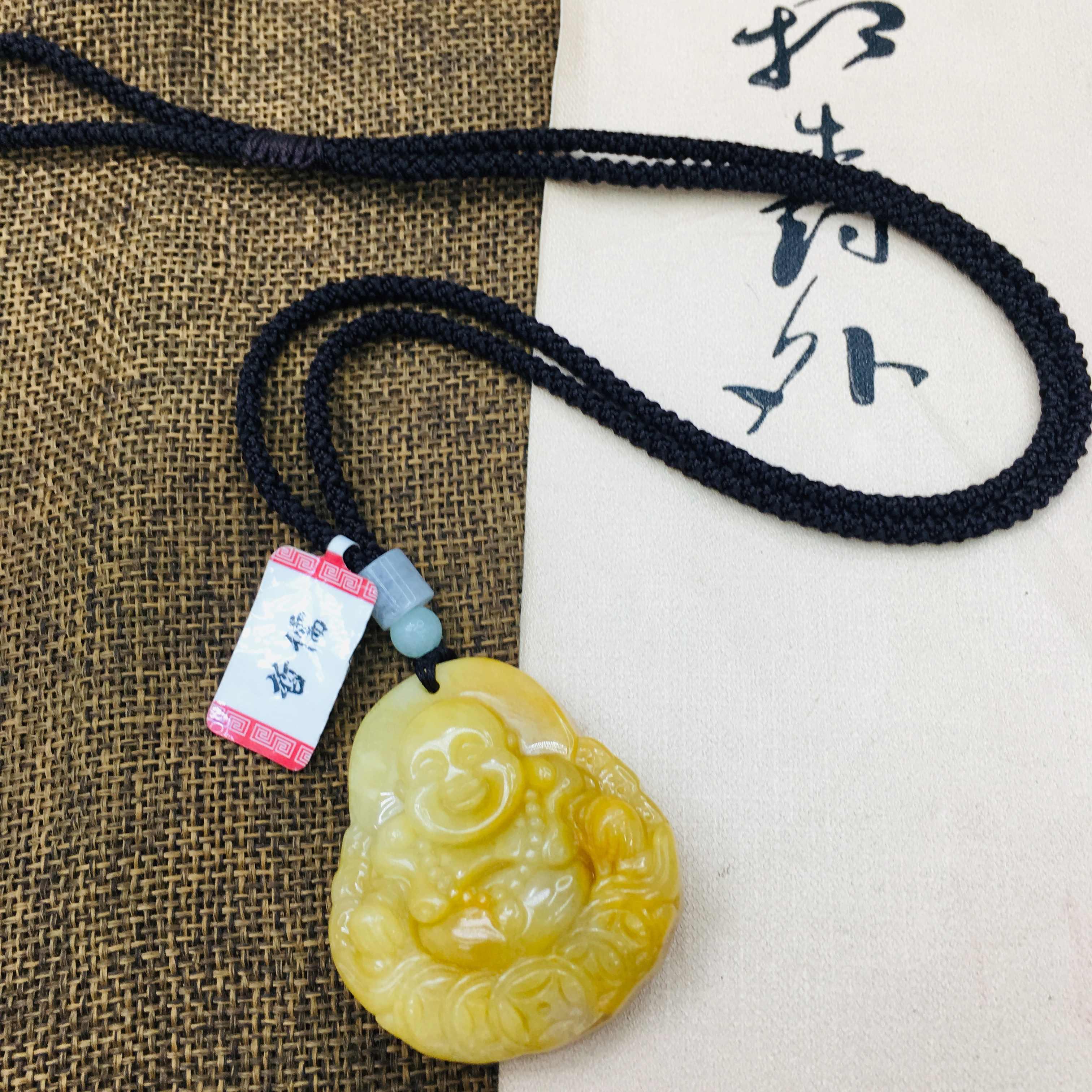 Nguyên chất tự nhiên Topaz chạm khắc tiền Phật Cười Mặt dây chuyền tay dệt kim đơn giản Vòng cổ nam nữ áo len dây chuyền