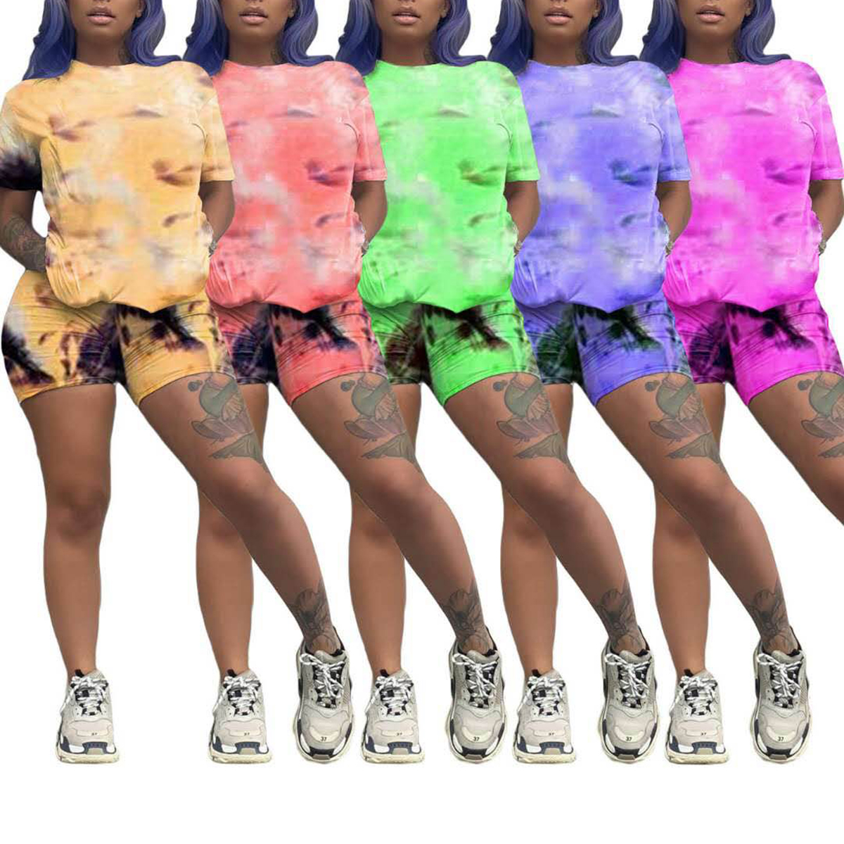 Two Piece Set Outfits Tie Dye Crop Tops And Biker Shorts Set Summer Matching Sets Fitness Sportwear Summer Clothes For Women