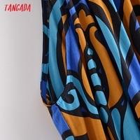 Tangada Fashion Women Leaf Print Summer Tank Dress 2021 New Arrival Sleeveless Ladies Midi Sundress With Slash  QN114 3
