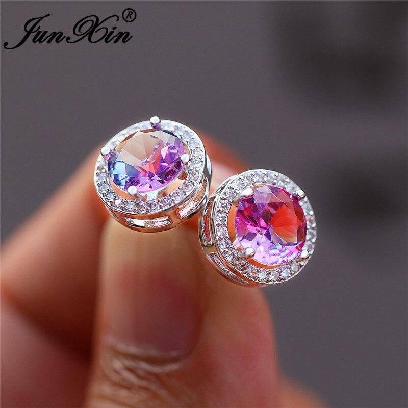 Boho Gradient Colorful Purple Pink Zircon Round Stud Earrings For Women White Gold Rainbow Fire Crystal Wedding Earrings Jewelry
