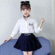 סתיו חזרה לבית הספר לבית הספר בנות נסיכת בגדי ילדים ארוך שרוול לבן חולצה קריקטורה חתול פרח רקמת חולצות