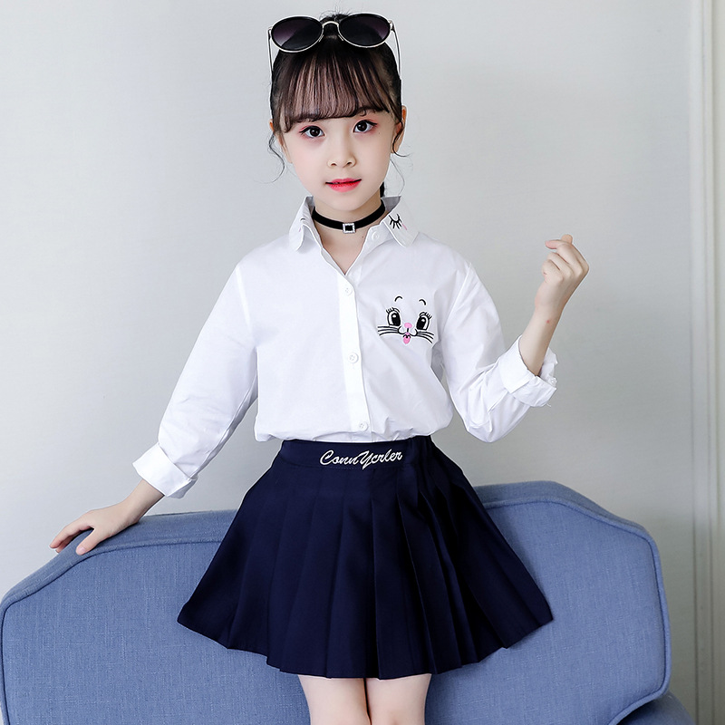 Autumn Back To School   Shirts   for School Girls Princess Clothes Kids Long Sleeve White   Blouse   Cartoon Cat Flower Embroidery Tops