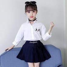 Jesień z powrotem do szkoły koszule do szkoły dziewczyny kostium księżniczki dzieci z długim rękawem biała bluzka kot kreskówkowy haft w kwiaty topy