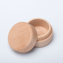 Hot Sale 1Pc Vintage Small Round Wooden Box Jewelry Storage Ring Earrings Container Case Natural Craft Gift
