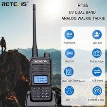 Retevis rt85 analógico walkie talkie uv banda dupla 5w handheld rádio em dois sentidos com teclado de tela vox rádio fm transceptor portátil
