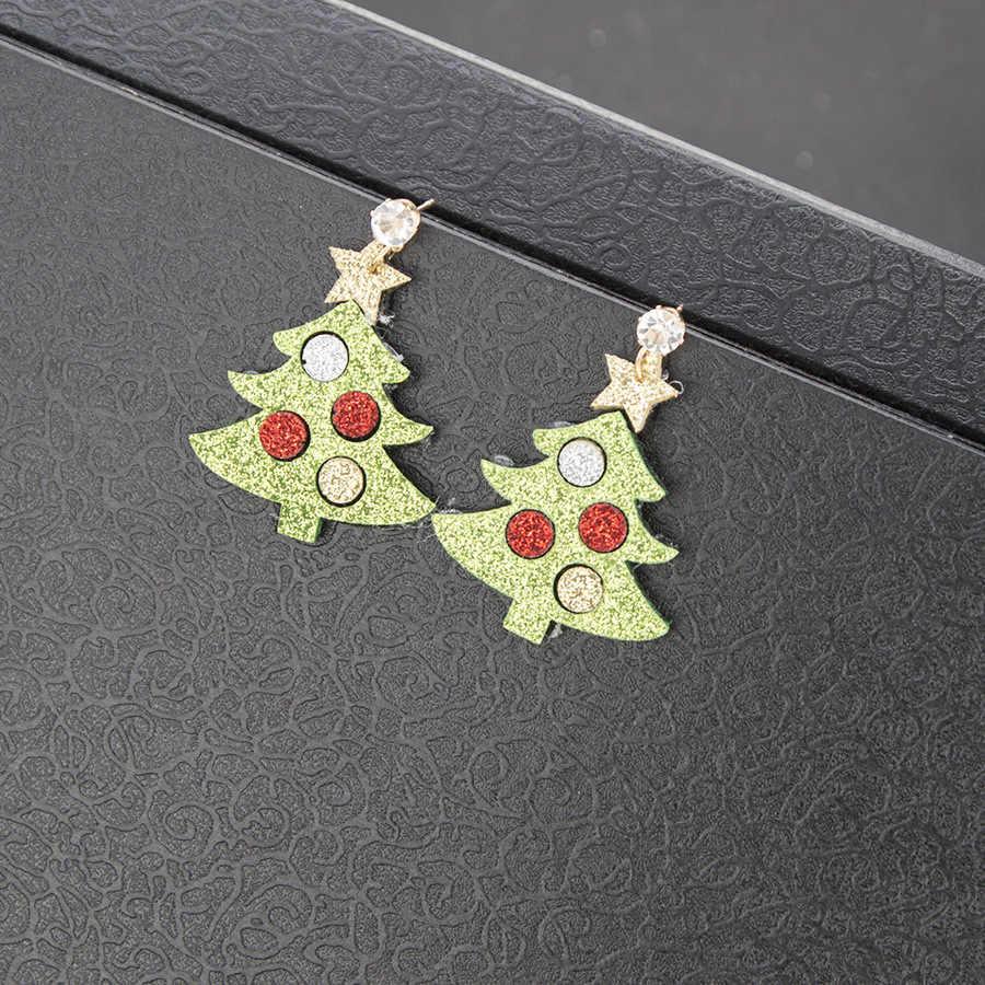 แฟชั่นคริสต์มาสของขวัญการ์ตูนคริสต์มาสต้นไม้ต่างหูต่างหูขายร้อน