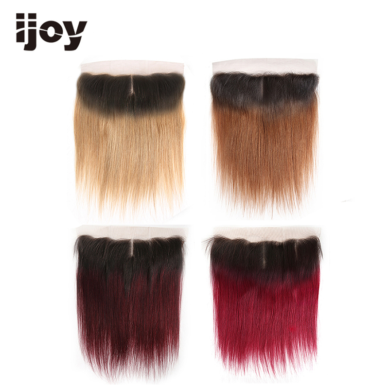Human Hair 4x13 Lace Ombre Frontal Closure 27/30/99J/Burgundy 8-20