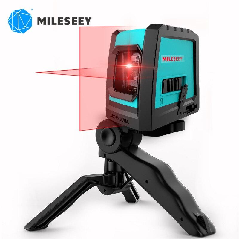 Mileseey 2020 novo 2 linhas laser nível l52r vertical profissional cruz laser nivelador com carga usb e tripé