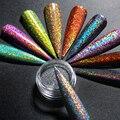 1 коробка, набор блестящих градиентных блесток для ногтей, порошок, лазерный Блестящий маникюр, дизайн ногтей, Хромовый пигмент, Серебряный ...
