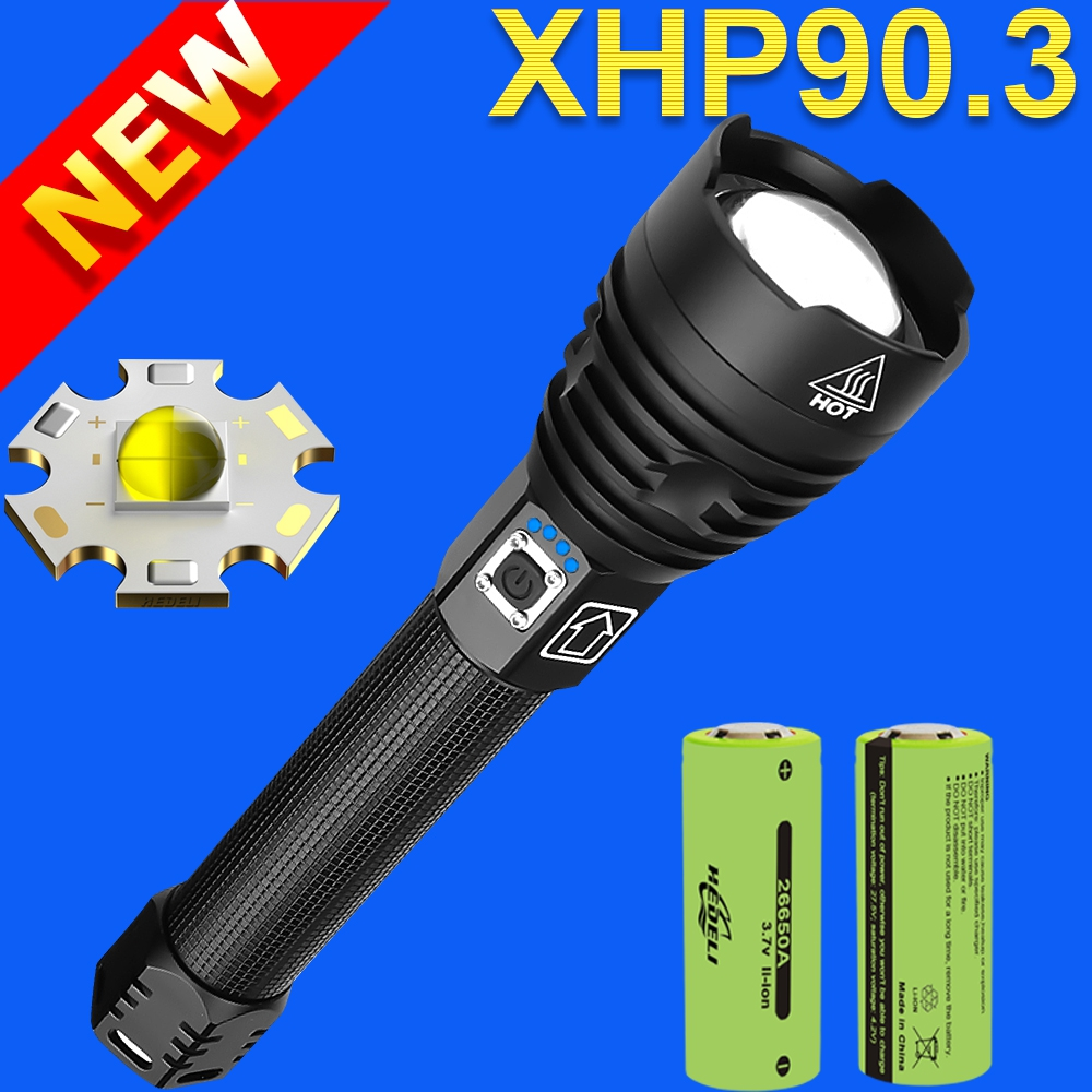 Super XHP90 3 powerful led flashlight 18650 Rechargeable tactical flashlight xhp90 usb flash light torch cree xhp70 led lantern