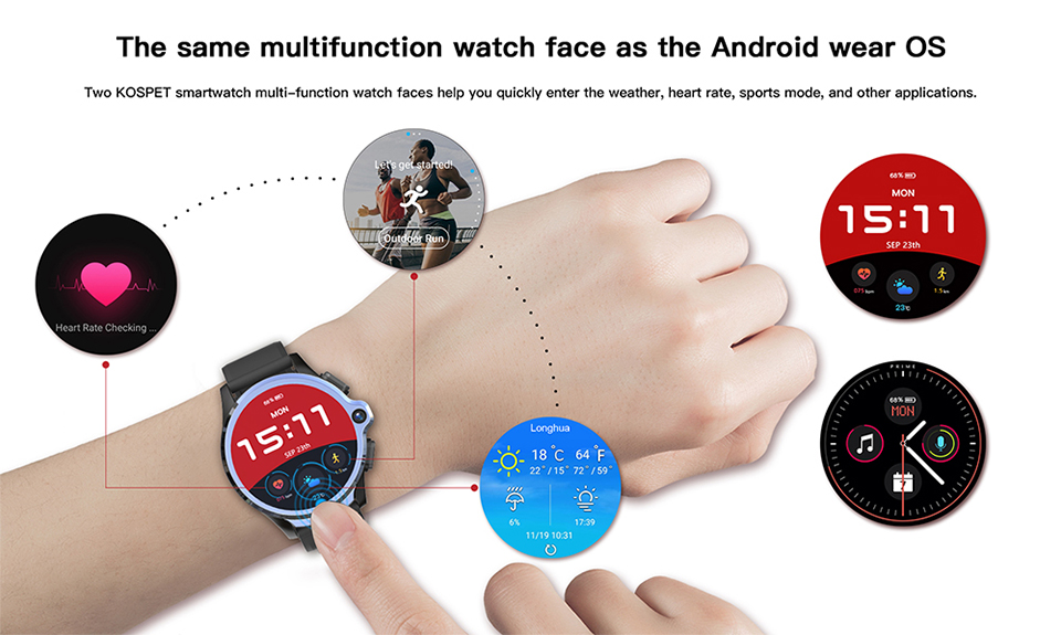 KOSPET Prime 3GB to 32GB Smart Watch for Men with Dual Camera and Face ID Detection 21