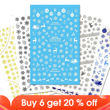 1 Sheet Christmas Snow Flower Lace Nail Art Sticker Decals Tips Tool 3D Wraps Stamp DIY Manicure Slider Decoration JIF281 284