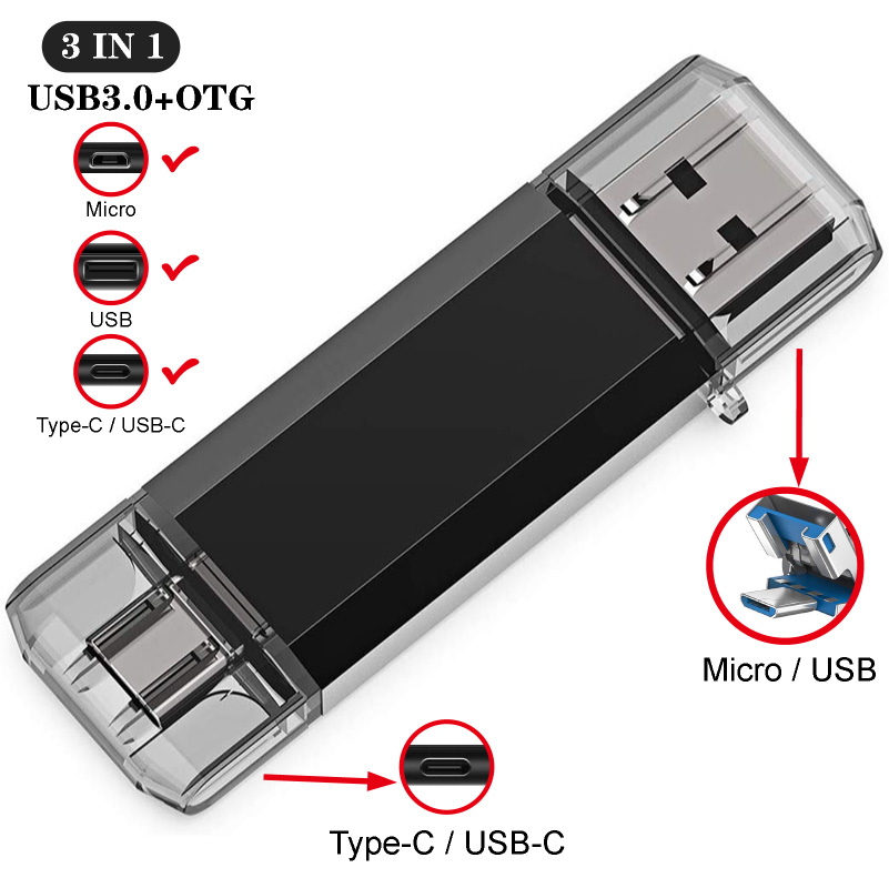 3IN1 OTG Usb Stick Type C Pen Drive 128 GB 64 GB 32 GB 16 GB USB Flash Drive 3.0 Hoge Snelheid Pendrive Voor Type-C Apparaat