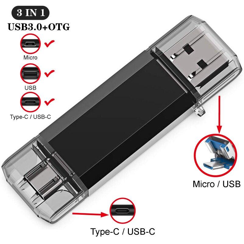 3IN1 OTG Usb Stick Type C Pen Drive 128 GB 64 GB 32 GB 16 GB USB Flash Drive 3.0 Hoge Snelheid Pendrive Voor Type-C Apparaat