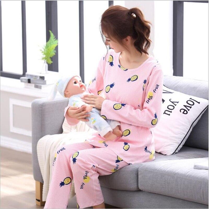 Пижама для кормящих женщин Пижама для беременных Корейская хлопковая одежда для беременных Одежда для грудного вскармливания домашняя одежда для беременных