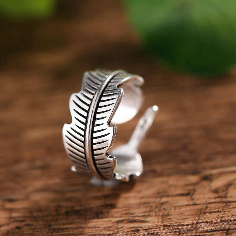 خمر أوراق النبات 925 الاسترليني الفضة السيدات خواتم الاصبع الأصلي مجوهرات للنساء لا تتلاشى حلقة هدية عيد ميلاد رخيصة