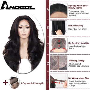 Image 2 - Anogol High Temperature Fiber Hair Natural Hairline Glueless Long Body Wave 1B Black Synthetic Lace Front Wig with Middle Part