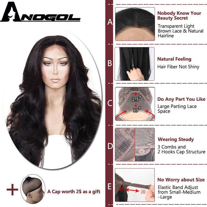 Anogol Suhu Tinggi Serat Rambut Alami Rambut Tanpa Glueless Tanpa Panjang Gelombang Tubuh 1B Sintetis Hitam Renda Depan Wig dengan Bagian Tengah