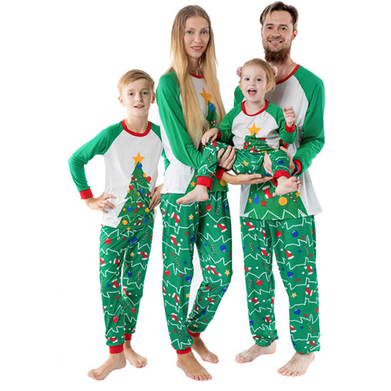 Parent Kids Christmas Tree Printing Family Matching Outfits Suit Father <font><b>Mother</b></font> Kids Son <font><b>Daughter</b></font> <font><b>Pajamas</b></font> 2pcs Clothes <font><b>Sets</b></font> image