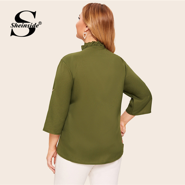 Sheinside Plus Size Casual Army Green Lace Up V Neck Blouse Women 2019 Autumn Roll Up Sleeve Blouses Ladies Ruffle Trim Top 1