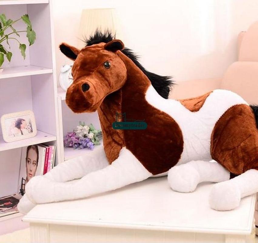 130cm x 60cm gigante macio cavalo pelúcia emulational animais de pelúcia brinquedos boneca presente bonito brinquedos de pelúcia ponto - 2