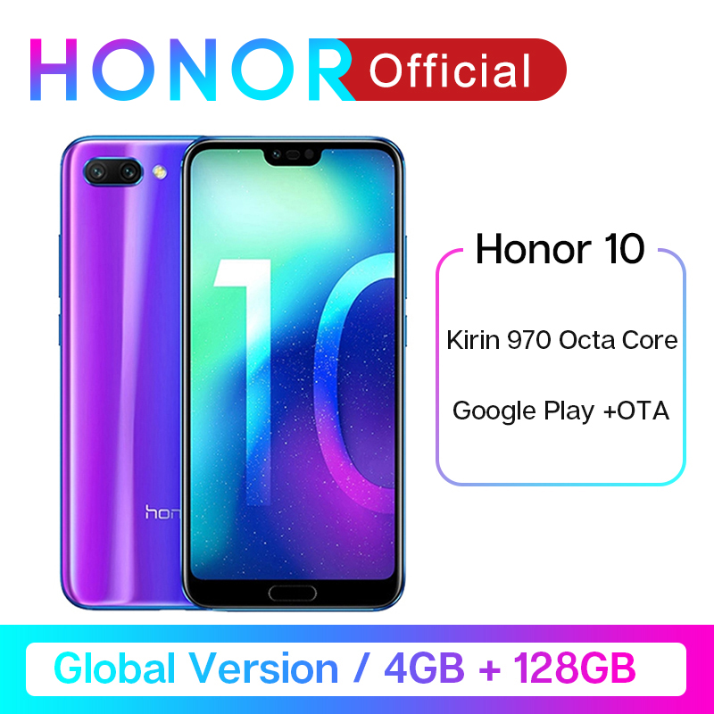 In Stock Global Version Honor 10 4G 128G Smartphone 5.84''24MP AI Cam Kirin 970 Octa Core NFC Android Google Play Fingerprint ID title=
