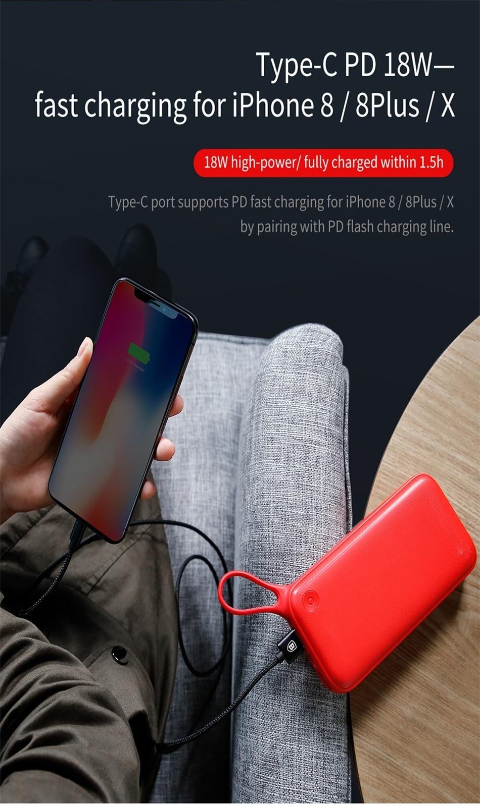 Baseus 20000mAh Quick Charge 3.0 Power Bank For Xiaomi Mi 000 mAh USB C PD Fast Portable External Battery Charger Powerbank 6