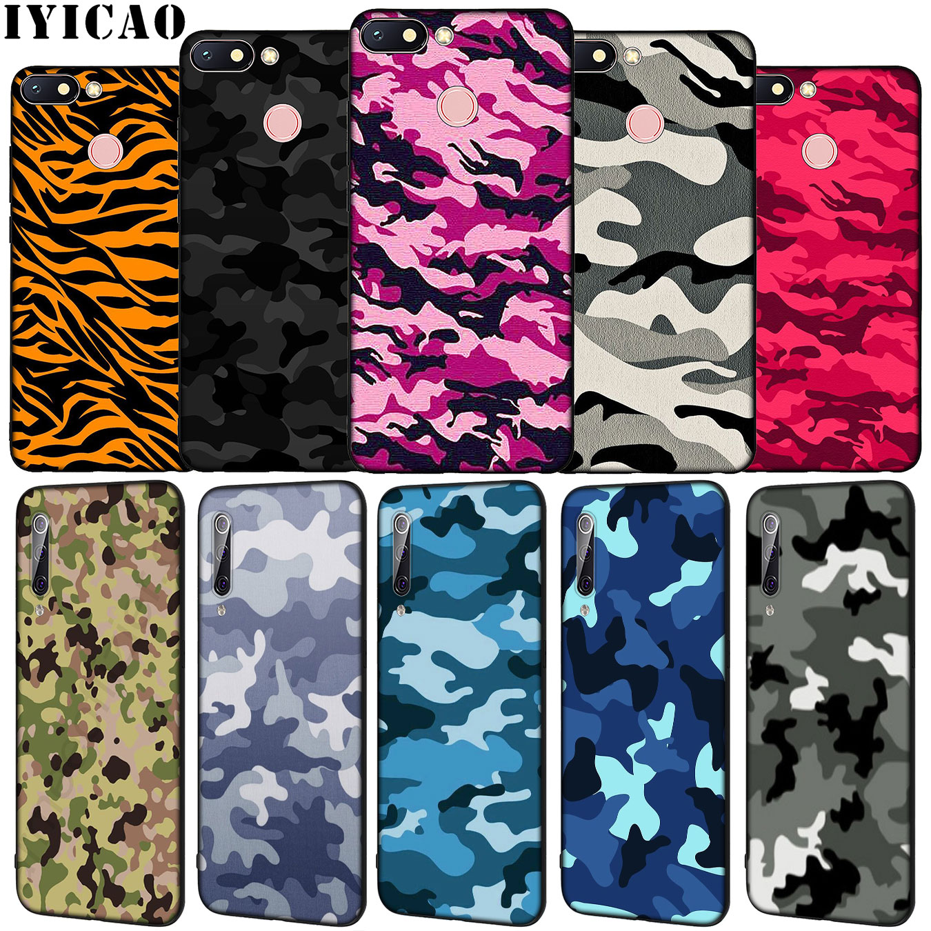 IYICAO Camouflage Muster Camo militär Armee Weiche Silikon Fall für <font><b>Xiaomi</b></font> <font><b>Redmi</b></font> 8A 7A 6A 5A K20 S2 4A <font><b>4X</b></font> hinweis 8 7 6 Pro 5 Plus image