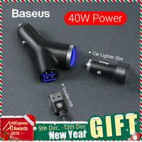 Baseus 40W Caricabatteria Da Auto per il Telefono Mobile Universale Dual USB Car Cigarette Lighter Slot per Tablet GPS 3 Dispositivi auto Caricatore Del Telefono