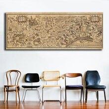Arte de pared de Harry Potter para decoración del hogar, cartel del mapa del mundo mágico, lienzos de pintura impresos, Modular, imagen HD para sala de lectura